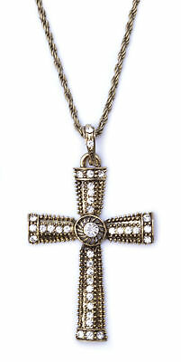 MONK NUN JEWELLED CROSS MEDIEVAL NECKLACE mens womens fancy dress accessory