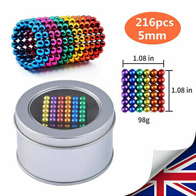 5mm 216X Mixed Color Mini Magic Magnets Ball Neodymium Sphere Puzzle Cube Gifts