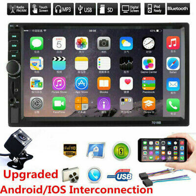 """7"""" Double DIN Bluetooth Car Radio Stereo FM MP5 Player Touch Screen +Rear Camera"""