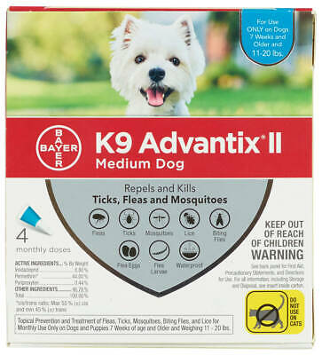K9 Advantix II for Medium Dogs 11-20 lbs - 4 Pack - FREE Shipping