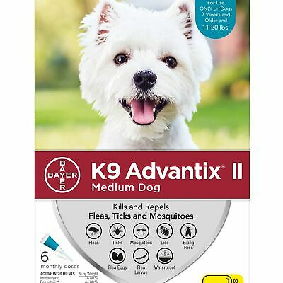 K9 Advantix II for Medium Dogs 11-20 lbs - 6 Pack - FREE Shipping