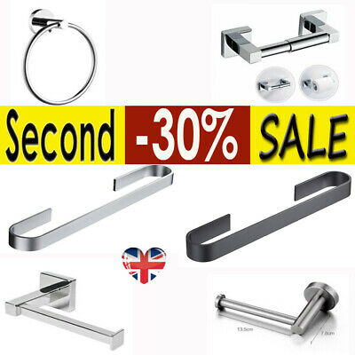 Polished Chrome Bath Bathroom Toilet Roll Holder / Towel Ring Fittings Includ YY