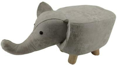 Mini Light Grey Elephant stool / footstool faux leather / suede with wooden legs