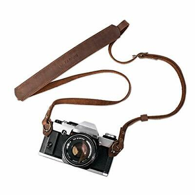 Vintage style GOLDEN BROWN leather camera strap 40in ..FILM or MIRRORLESS