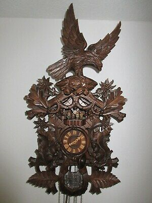 Black Forest German Cuckoo Clock Wood Regula Mvt Eagle Reuge Swiss Music Dancers