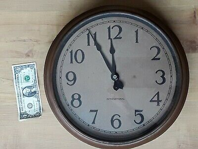 "Very old International COPPER WALL CLOCK Factory Industrial School 14-1/2""  Vtg."