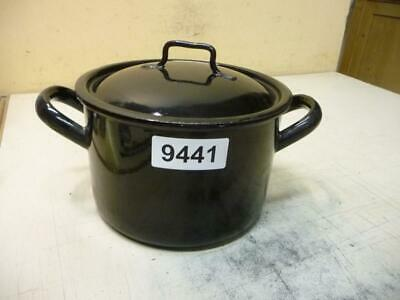 9441. Alter Emaille Email Topf mit Deckel Old enamel pot