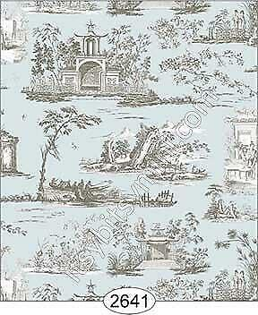 ROSE HILL TOILE BLACK ON YELLOW-2643 MINIATURE DOLLHOUSE WALLPAPER 1:12 SCALE