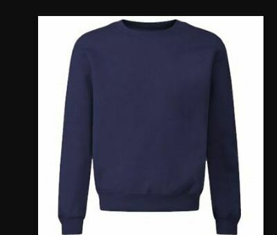 NEW BOYS GIRLS EX STORE NAVY BLUE SCHOOL SWEATSHIRT JUMPER Age 7-14 yrs SS1