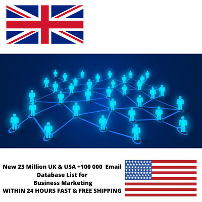 23 Million UK & USA +100 000  Email Database List for Business Marketing Target
