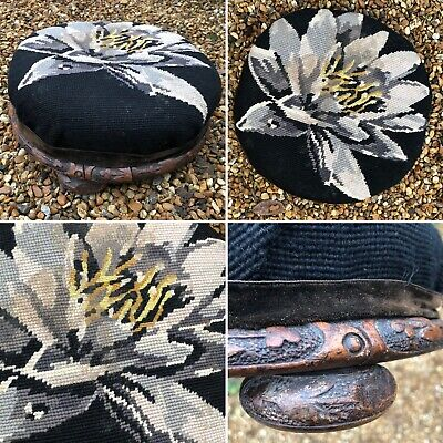 🌈Antique Small Round Carved Wooden Floral Tapestry Topped Footstool Stool Prop