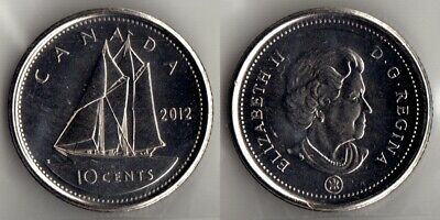 2012 Canada Bluenose Schooner Dime, Canadian Mint 10 Cents Coin, Circulated