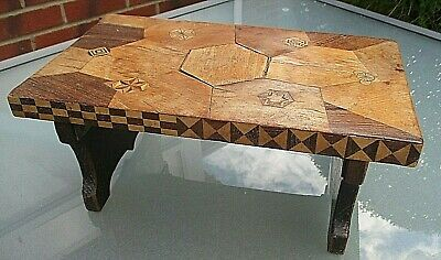 Lovely Vintage Unusual Wooden Folding Stool With Veneer Marquetry
