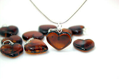 Natural Baltic Amber Lot Of 10 Pendants Handmade Heart Shape Cherry Red Color