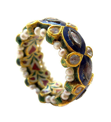 INDIAN Mughal DIAMOND Gold PEARL Enamel RING