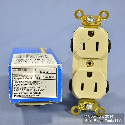 New Leviton Ivory LEV-LOK INDUSTRIAL Receptacle Duplex Outlet 15A M5262-I Boxed