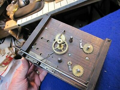 antique Beha type double fusee wooden clock movement with pendulum