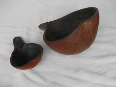 639 /  Pair Of Antique Tribal / Ethnic Scoops Hand Carved From A Vegetable Gourd