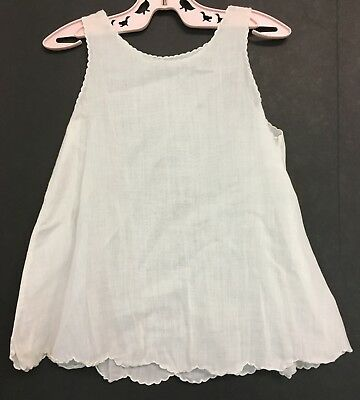 Vintage Toddlers Girls Or Dolls Off White Petticoat Slip With Scalloped Edges