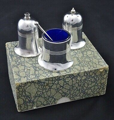 3 Piece Art Deco Style Old English Cruet Condiment Set Salt Pepper Mustard Epns