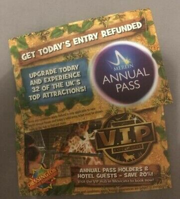 Chessington 2  Paper Tickets For 15th May 2020