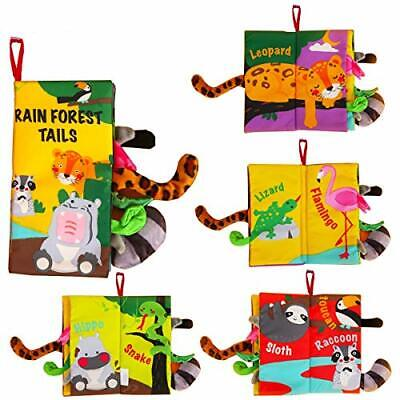 Soft Baby Cloth Books,Touch and Feel Crinkle Tail Books, D: Rainforest