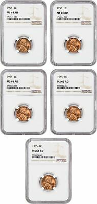Lotto di 1955 1c NGC MS65 Rd (5 Monete Totale) - Lincoln Cent - Neat Collettore