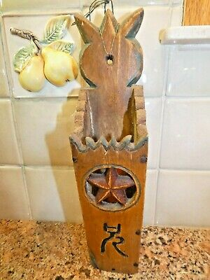 Antique Carved Wood Primitive Hanging Knife Candle Matched Box Star Folk Art