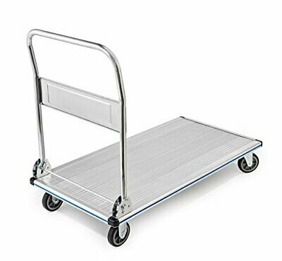 AdirOffice Folding Aluminum Platform Truck - Flatbed Cart - Single Handle - 5""