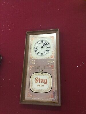 Rare Stag Clock Mirror  Beer Sign