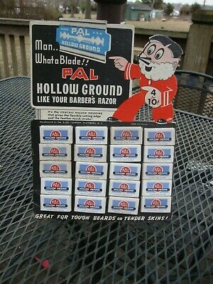 1930s Store Display Pal Hollow Ground Razor Blades Die Cut New Old Stock!