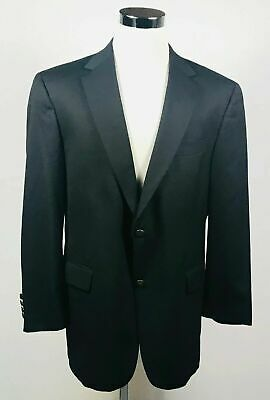 Hart Schaffner Marx Mens 48L Blazer BLUE Gold Two Button 100% Wool Lined Vented