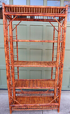 Vintage Five Tiered Tortoise Bamboo Etagere Shelf Chinese Chippendale Style