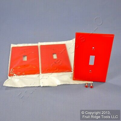 3 Leviton RED 1G UNBREAKABLE Midway Toggle Switch Cover Nylon Wallplates PJ1-R