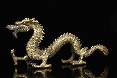 China Collectible Handwork Carving Bronze Fierce Dragon Statue