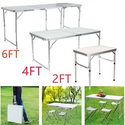 2FT 4FT 6FT Aluminum Folding Camping Picnic Table Party Kitchen Outdoor Garden