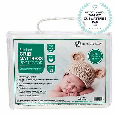 Ultra Soft Crib Mattress Protector Pad by Margaux  May - Waterproof - Noiseless