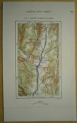 1892 Perron map CONFLUENCE OF HUDSON AND MOHAWK RIVERS, ALBANY, NEW YORK STATE