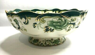 MASONS Chartreuse Antique Footed Bowl Green & Gold With Scalloped Edge
