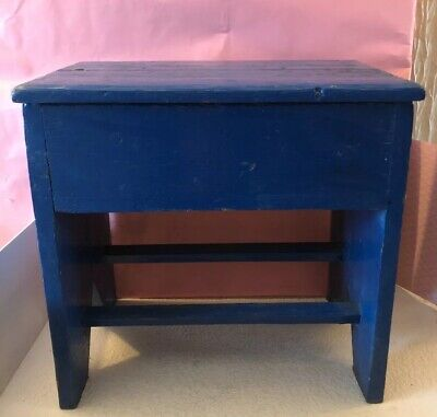 Vintage Mid Century Rustic Painted Lidded Wooden Stool / Storage Box