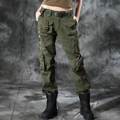 Womens Camouflage Military Loose Cargo Harem Pants Outdoor Army Hip Hop zq00