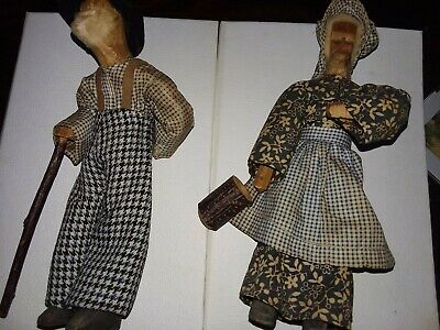 Antique hand carved wooden Old Man & Woman dolls w/ handmade clothes MA & PA- 7""