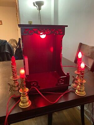 Chinese Shrine Buddhist 16 Inch Alter  Wood With red Lights And Statues Gold