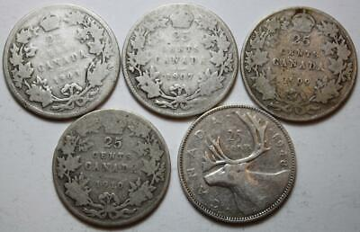 Canada 1903, 1907, 1909, 1910 & 1948 Silver 25 Cents Lot Of 5 Better Dates