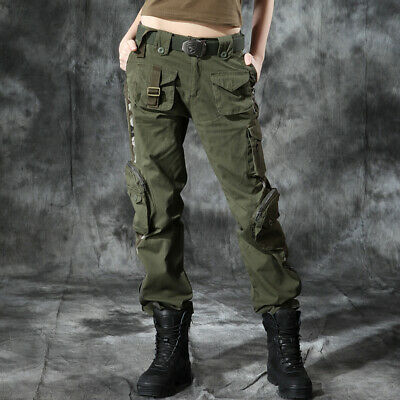 Womens Camouflage Military Loose Cargo Harem Pants Outdoor Army Hip Hop jy01