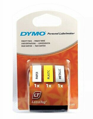 DYMO LetraTag Label Tape 12mm Variety 3 Pack