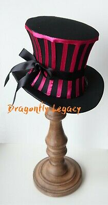 Handmade Steampunk Mini Top Hat Goth Lolita Victorian Vintage Striped Halloween