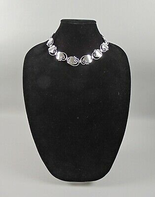 Georg Jensen Sterling Silver Leaf Link Necklace 113 Artist La Paglia USA 17""