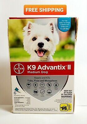 K9 Advantix II Tick Fleas & Mosquito Prevention for Medium Dogs, 6 Monthly doses