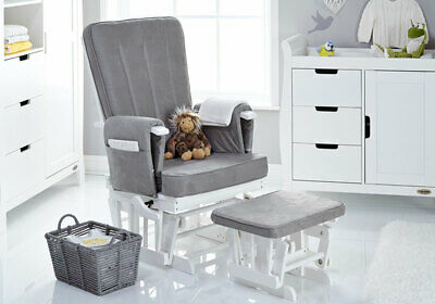 Obaby DELUXE RECLINING GLIDER CHAIR & STOOL WHITE WITH GREY CUSHION